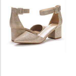 DREAM PAIRS Women's Low gold glitter Heel Pumps